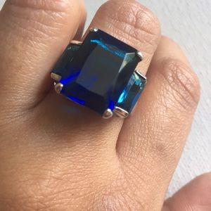 925 Silver Blue Gemstone Ring